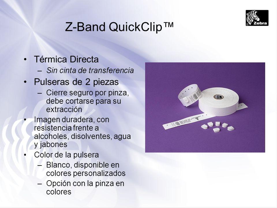 Z-Band 4000 Transferencia Térmica –requiere cinta de transferencia de resina Sin látex, impermeable, resistente al borrado y la abrasión En 1 pieza –Cierre autoadhesivo Color de la pulsera –Blanco, disponible en colores personalizados