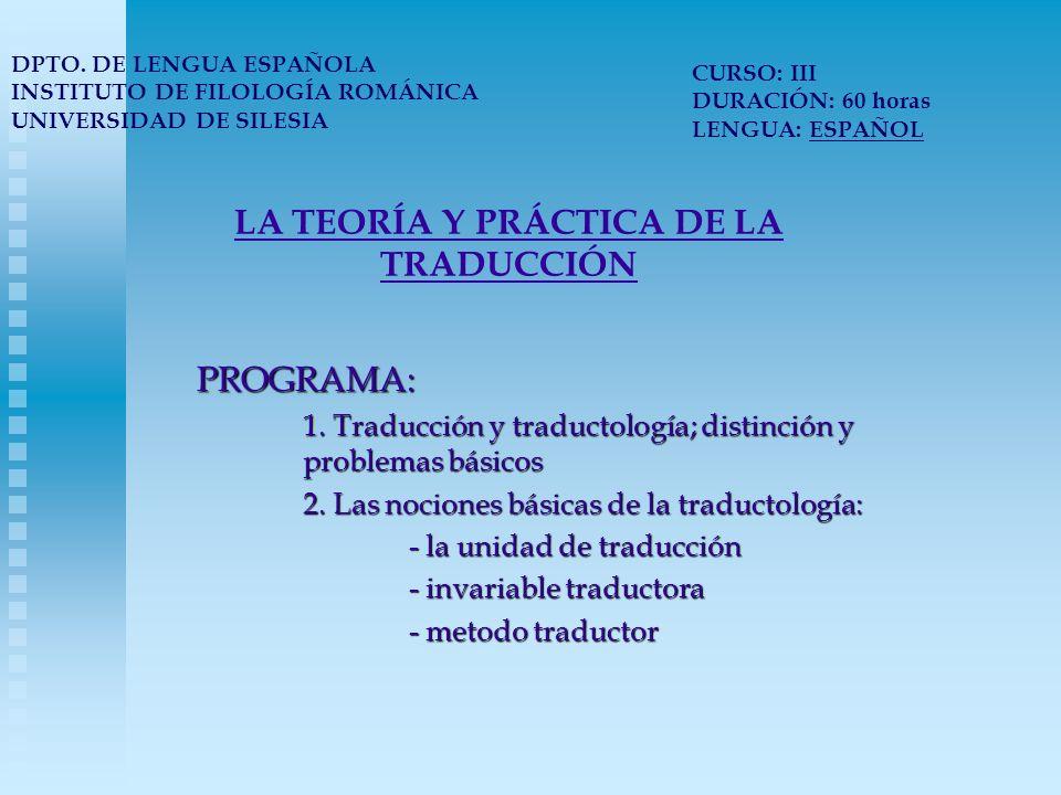 LA TEORÍA Y PRÁCTICA DE LA TRADUCCIÓN 2.