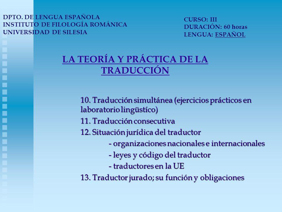 LA TEORÍA Y PRÁCTICA DE LA TRADUCCIÓN DPTO.