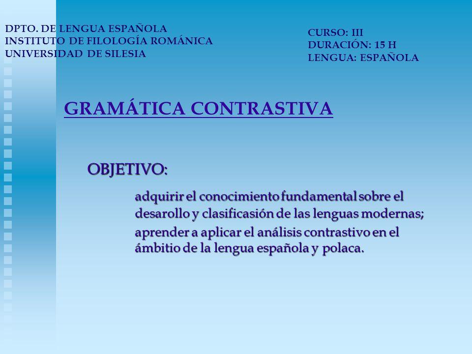 GRAMÁTICA CONTRASTIVA PROGRAMA: 1.Clasificasión de las lenguas.