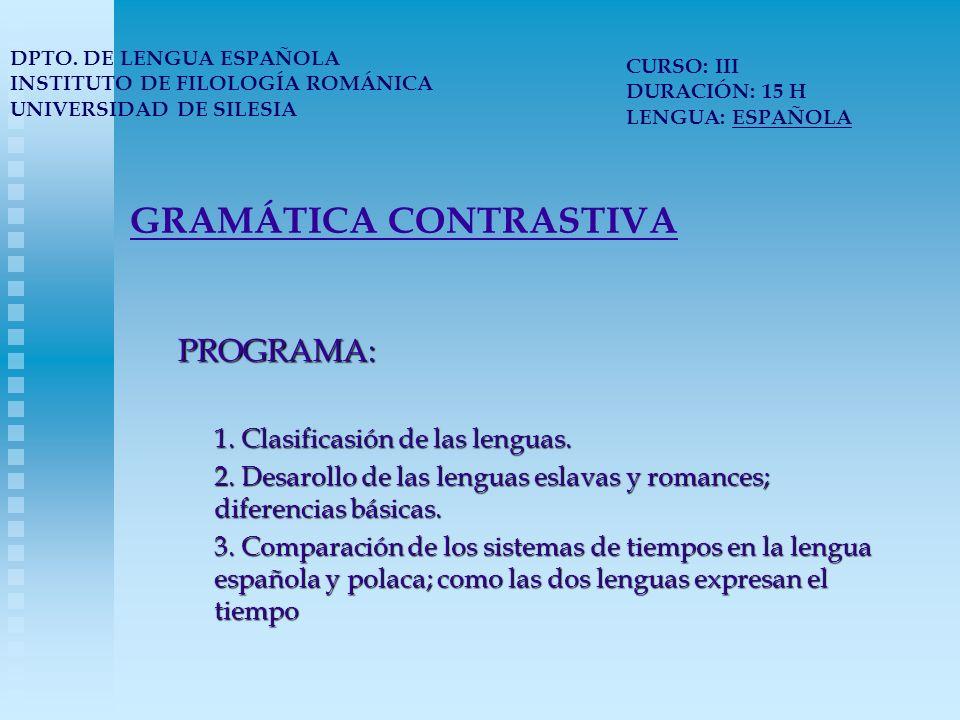 GRAMÁTICA CONTRASTIVA 4.Cuestión del aspecto en la lengua polaca y española.