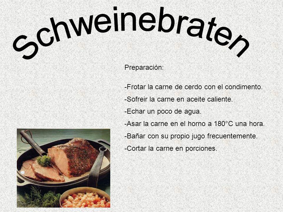 Preparación: -Frotar la carne de cerdo con el condimento.
