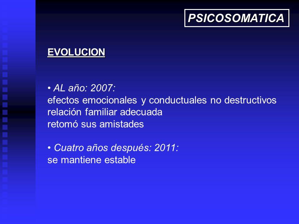 EVOLUCION AL año: 2007: efectos emocionales y conductuales no destructivos relación familiar adecuada retomó sus amistades Cuatro años después: 2011: