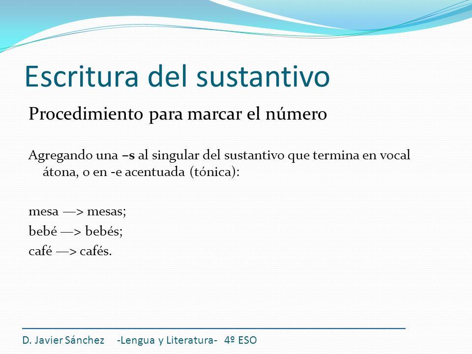 Escritura del sustantivo Procedimiento para marcar el número Agregando una –s al singular del sustantivo que termina en vocal átona, o en -e acentuada