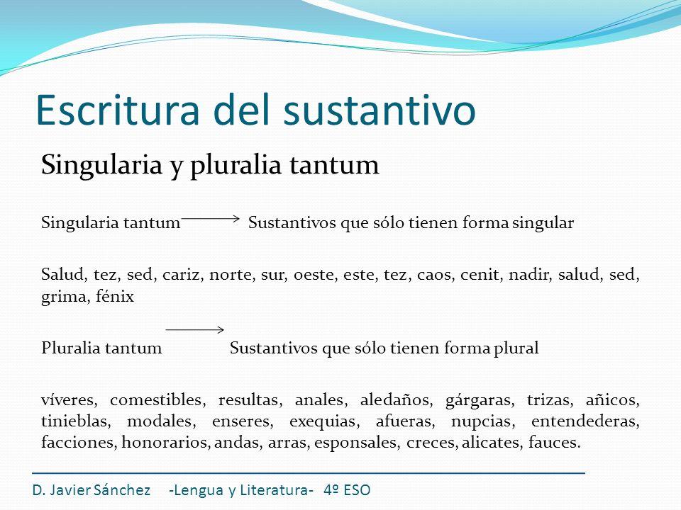 Escritura del sustantivo Singularia y pluralia tantum Singularia tantum Sustantivos que sólo tienen forma singular Salud, tez, sed, cariz, norte, sur,