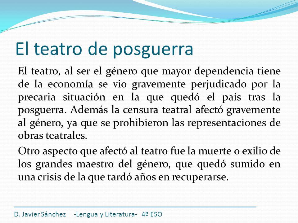 El teatro de posguerra El teatro, al ser el género que mayor dependencia tiene de la economía se vio gravemente perjudicado por la precaria situación