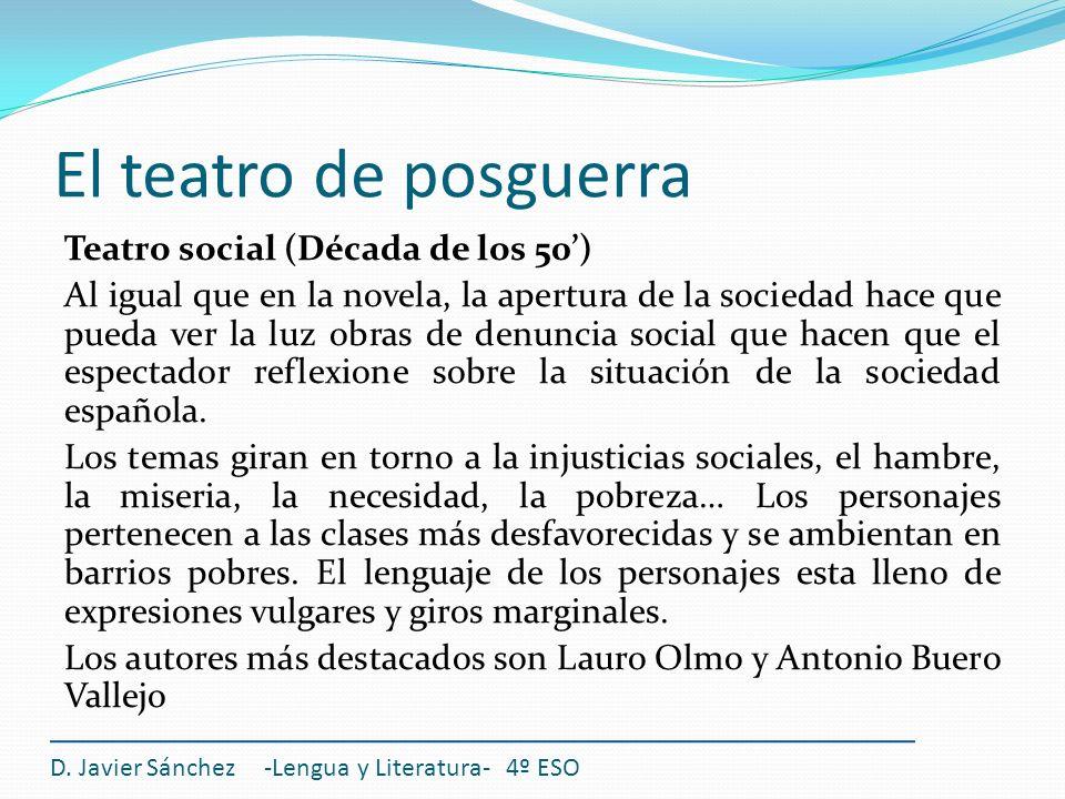 El teatro de posguerra Teatro social (Década de los 50) Al igual que en la novela, la apertura de la sociedad hace que pueda ver la luz obras de denun