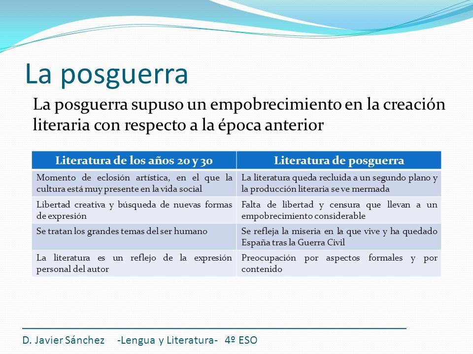 D. Javier Sánchez -Lengua y Literatura- 4º ESO La posguerra supuso un empobrecimiento en la creación literaria con respecto a la época anterior La pos