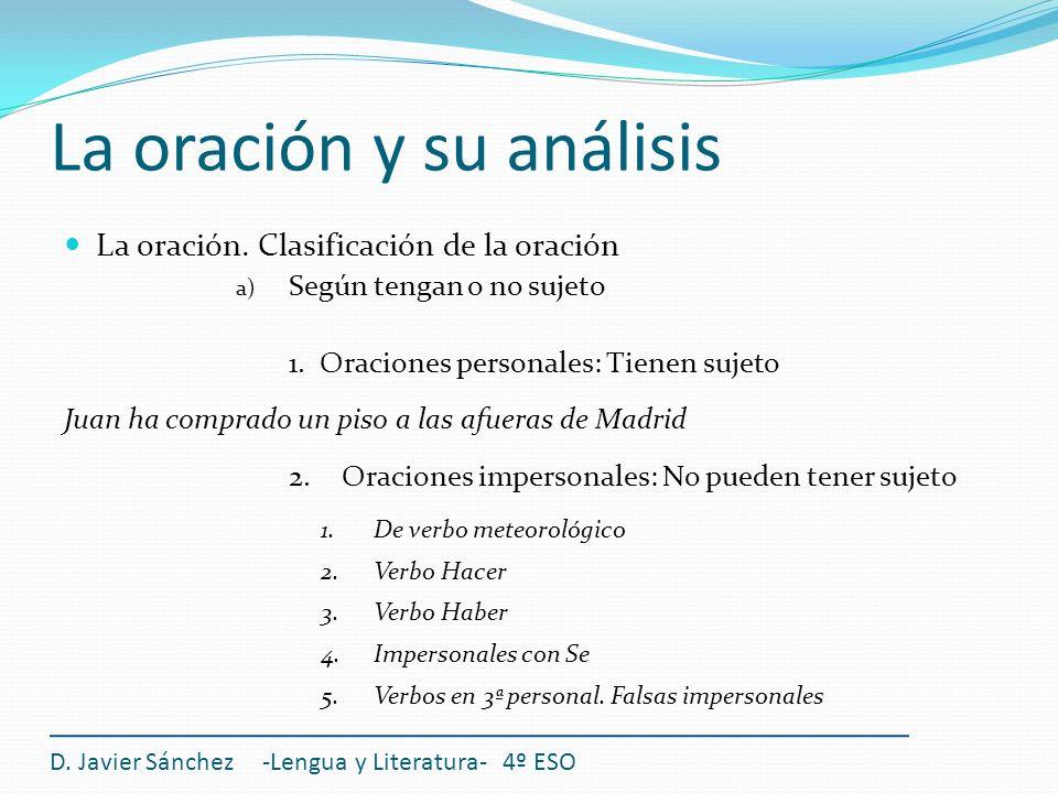 La oración y su análisis D. Javier Sánchez -Lengua y Literatura- 4º ESO La oración. Clasificación de la oración a) Según tengan o no sujeto 1. Oracion