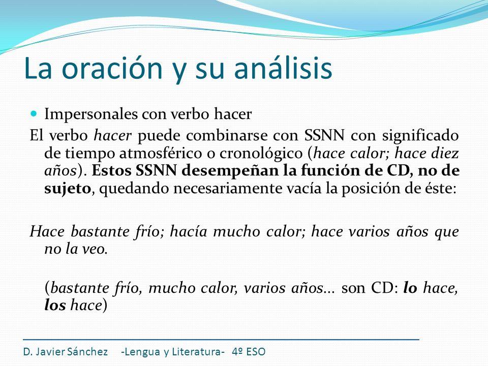 La oración y su análisis D. Javier Sánchez -Lengua y Literatura- 4º ESO Impersonales con verbo hacer El verbo hacer puede combinarse con SSNN con sign