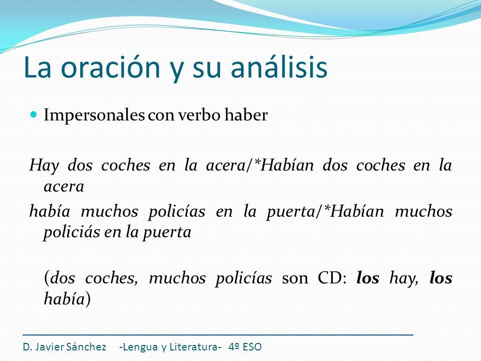 La oración y su análisis D. Javier Sánchez -Lengua y Literatura- 4º ESO Impersonales con verbo haber Hay dos coches en la acera/*Habían dos coches en