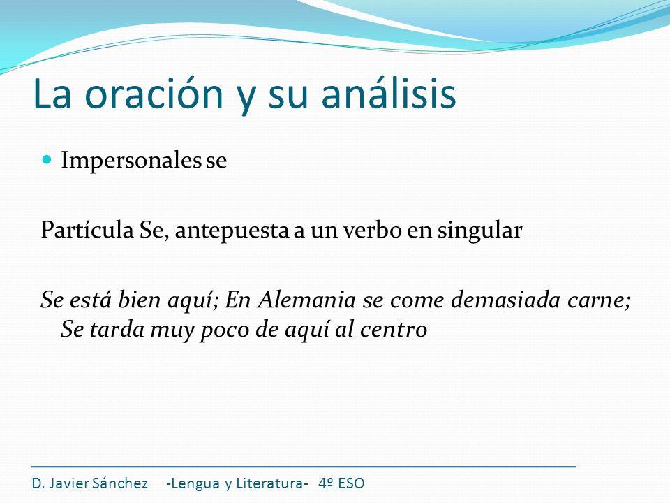 La oración y su análisis D. Javier Sánchez -Lengua y Literatura- 4º ESO Impersonales se Partícula Se, antepuesta a un verbo en singular Se está bien a
