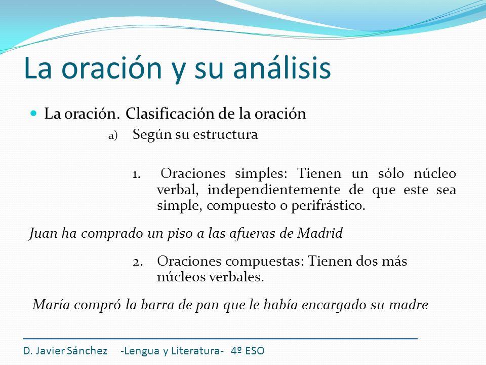 La oración y su análisis D. Javier Sánchez -Lengua y Literatura- 4º ESO La oración. Clasificación de la oración a) Según su estructura 1. Oraciones si