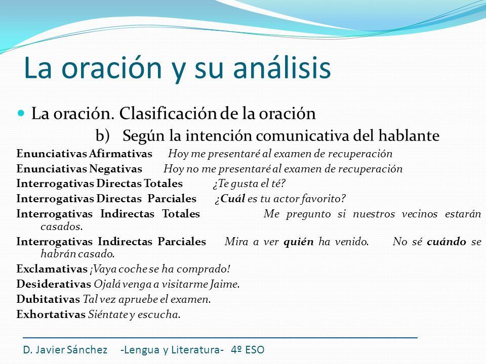 La oración y su análisis D. Javier Sánchez -Lengua y Literatura- 4º ESO La oración. Clasificación de la oración b) Según la intención comunicativa del