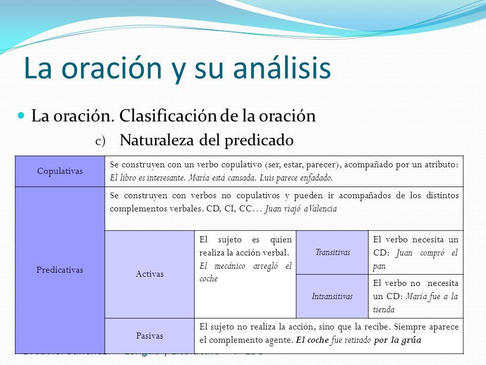 La oración y su análisis D. Javier Sánchez -Lengua y Literatura- 4º ESO La oración. Clasificación de la oración c) Naturaleza del predicado Copulativa