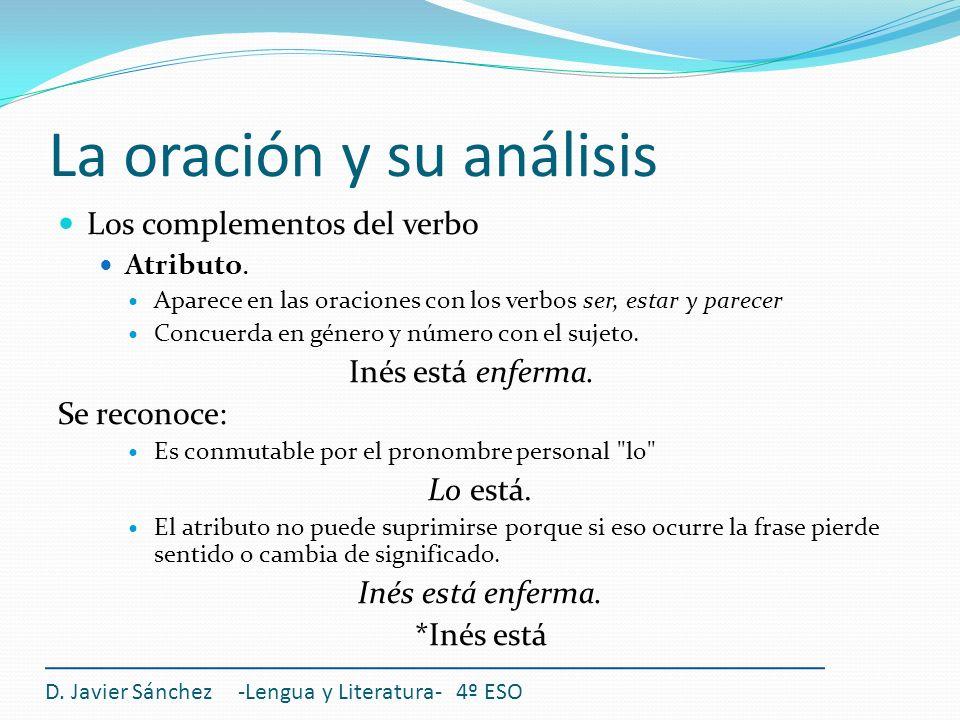 La oración y su análisis Los complementos del verbo Atributo. Aparece en las oraciones con los verbos ser, estar y parecer Concuerda en género y númer