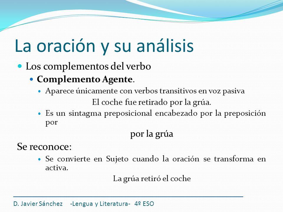 La oración y su análisis Los complementos del verbo Complemento Agente. Aparece únicamente con verbos transitivos en voz pasiva El coche fue retirado