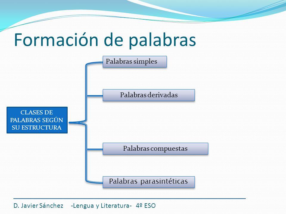 Formación de palabras D. Javier Sánchez -Lengua y Literatura- 4º ESO CLASES DE PALABRAS SEGÚN SU ESTRUCTURA Palabras simples Palabras parasintéticas P