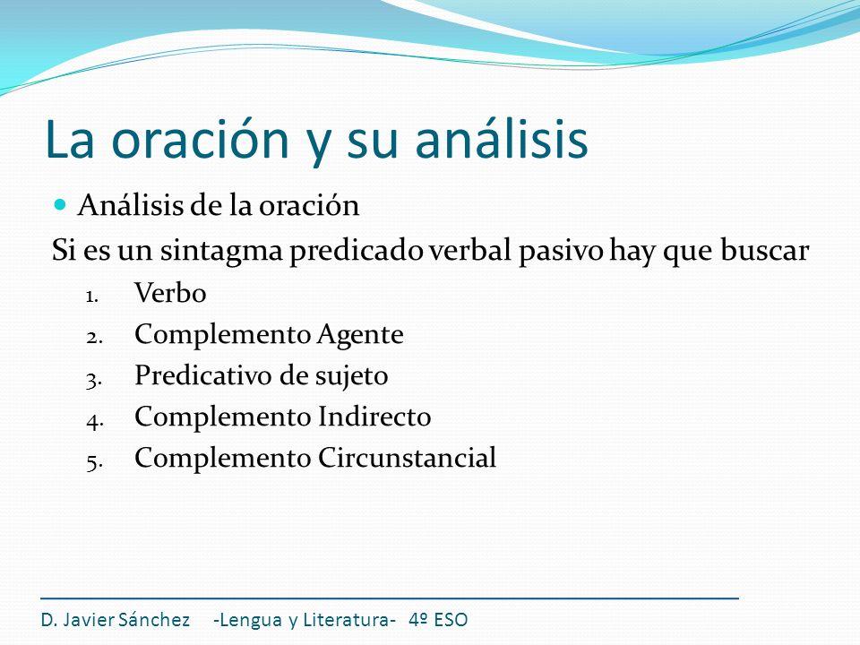 La oración y su análisis Análisis de la oración Si es un sintagma predicado verbal pasivo hay que buscar 1. Verbo 2. Complemento Agente 3. Predicativo