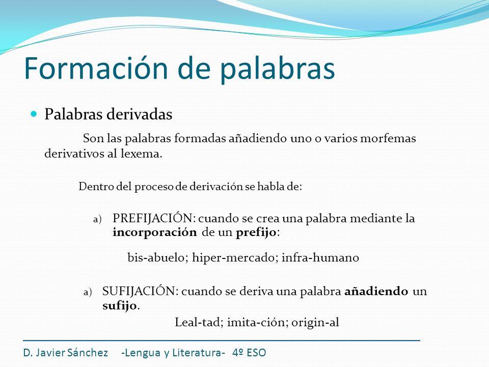 Formación de palabras D. Javier Sánchez -Lengua y Literatura- 4º ESO Palabras derivadas Son las palabras formadas añadiendo uno o varios morfemas deri