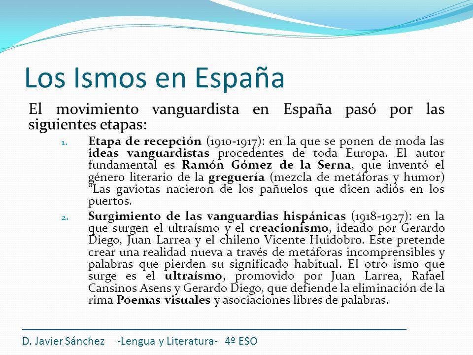 Los Ismos en España D. Javier Sánchez -Lengua y Literatura- 4º ESO El movimiento vanguardista en España pasó por las siguientes etapas: 1. Etapa de re