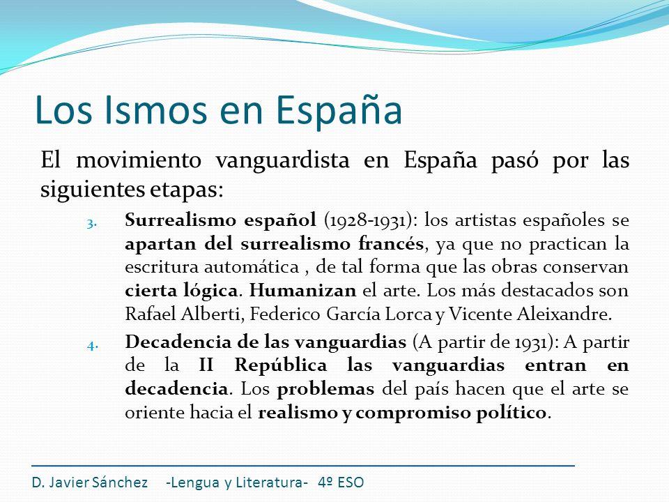 Los Ismos en España D. Javier Sánchez -Lengua y Literatura- 4º ESO El movimiento vanguardista en España pasó por las siguientes etapas: 3. Surrealismo