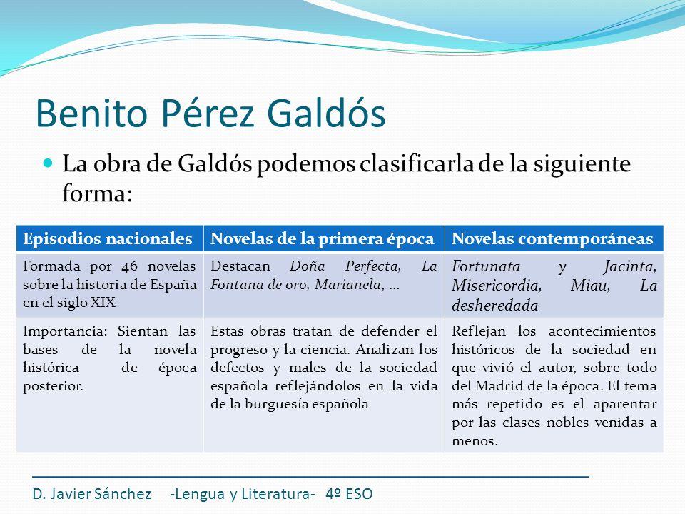 Benito Pérez Galdós La obra de Galdós podemos clasificarla de la siguiente forma: D. Javier Sánchez -Lengua y Literatura- 4º ESO Episodios nacionalesN