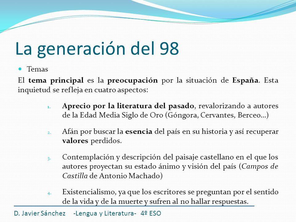 La generación del 98 Temas El tema principal es la preocupación por la situación de España. Esta inquietud se refleja en cuatro aspectos: 1. Aprecio p