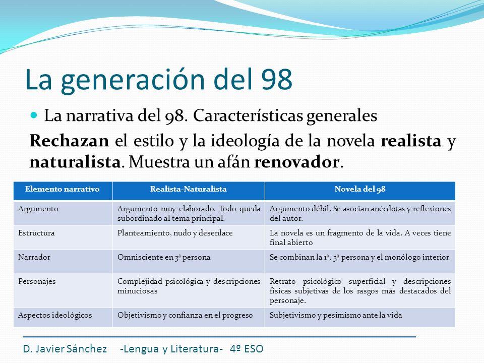 La generación del 98 La narrativa del 98. Características generales Rechazan el estilo y la ideología de la novela realista y naturalista. Muestra un