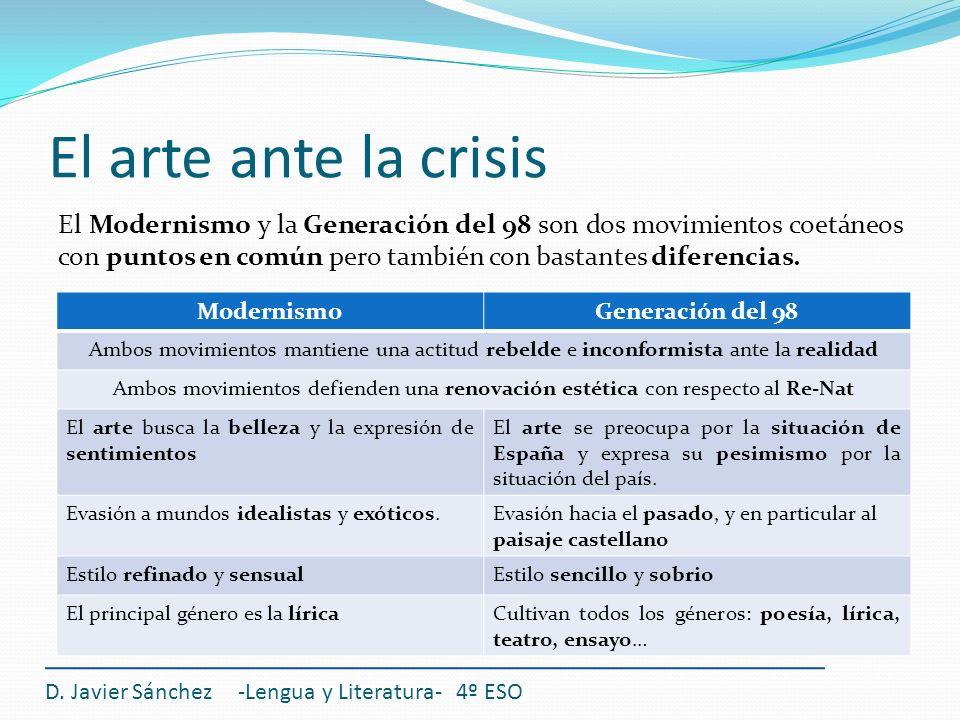 El arte ante la crisis D. Javier Sánchez -Lengua y Literatura- 4º ESO El Modernismo y la Generación del 98 son dos movimientos coetáneos con puntos en