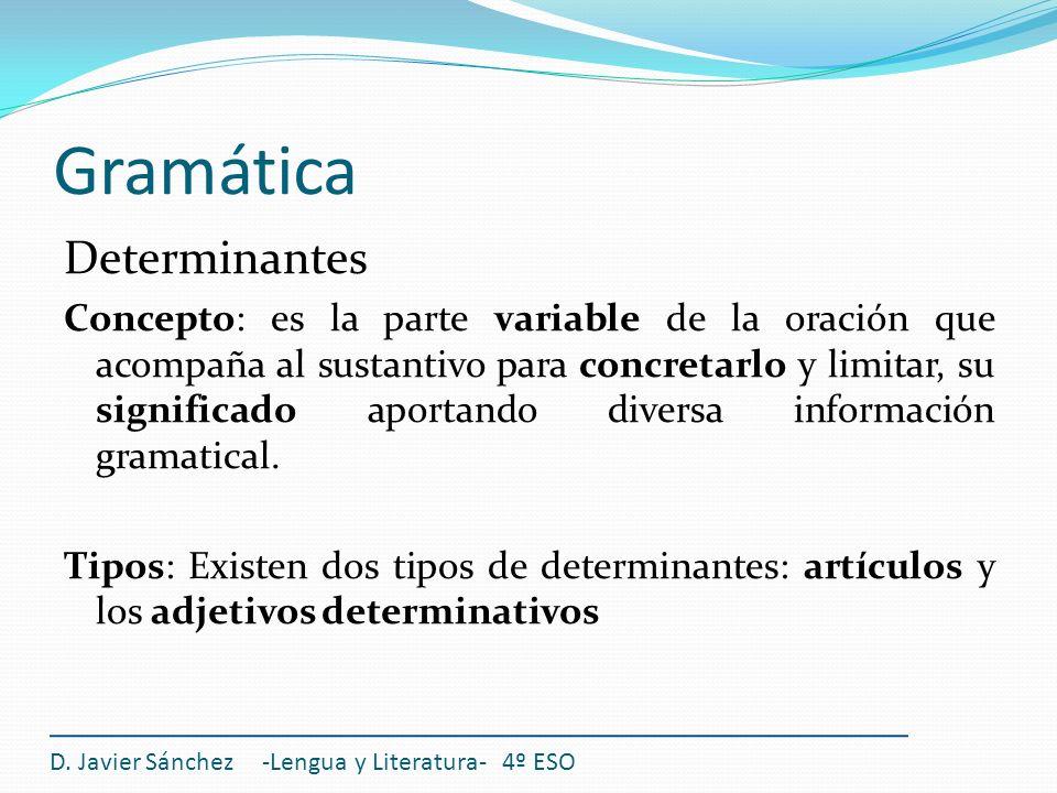 Gramática Determinantes Concepto: es la parte variable de la oración que acompaña al sustantivo para concretarlo y limitar, su significado aportando d