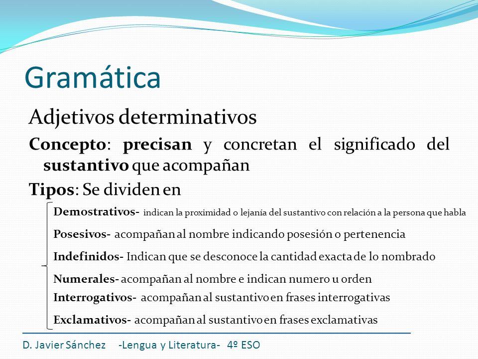 Gramática Adjetivos determinativos Concepto: precisan y concretan el significado del sustantivo que acompañan Tipos: Se dividen en D. Javier Sánchez -