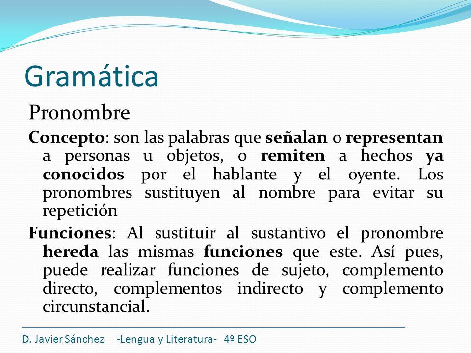 Gramática Pronombre Concepto: son las palabras que señalan o representan a personas u objetos, o remiten a hechos ya conocidos por el hablante y el oy