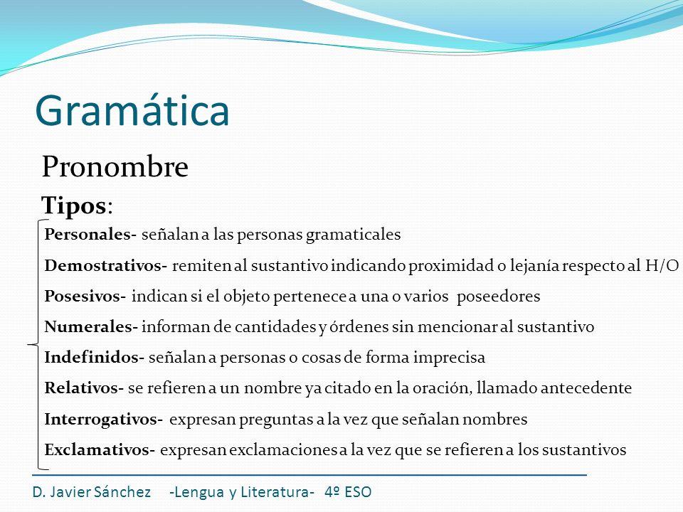 Gramática Pronombre Tipos: D. Javier Sánchez -Lengua y Literatura- 4º ESO Personales- señalan a las personas gramaticales Demostrativos- remiten al su