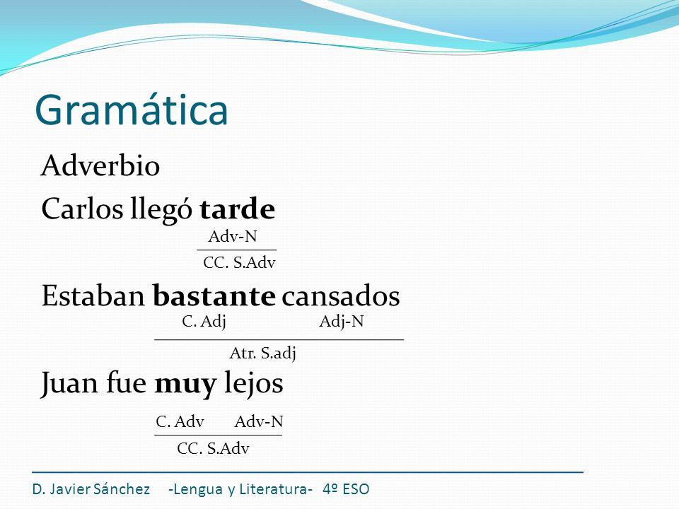 Gramática Adverbio Carlos llegó tarde Estaban bastante cansados Juan fue muy lejos D. Javier Sánchez -Lengua y Literatura- 4º ESO CC. S.Adv C. Adj C.