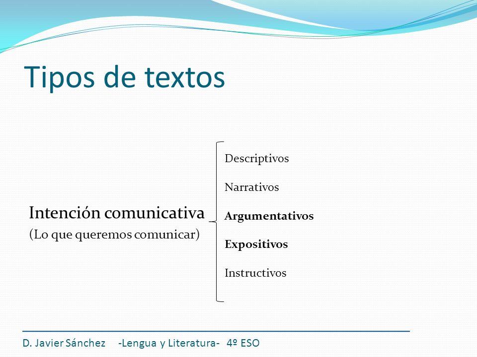 Tipos de textos Intención comunicativa (Lo que queremos comunicar) D. Javier Sánchez -Lengua y Literatura- 4º ESO Descriptivos Narrativos Argumentativ