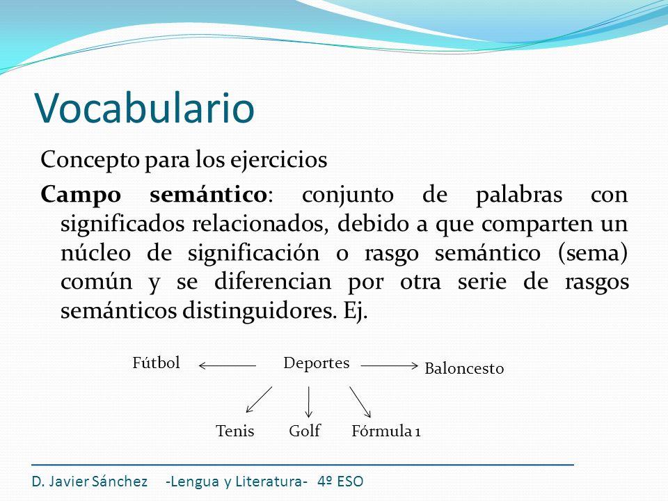 Vocabulario Concepto para los ejercicios Campo semántico: conjunto de palabras con significados relacionados, debido a que comparten un núcleo de sign