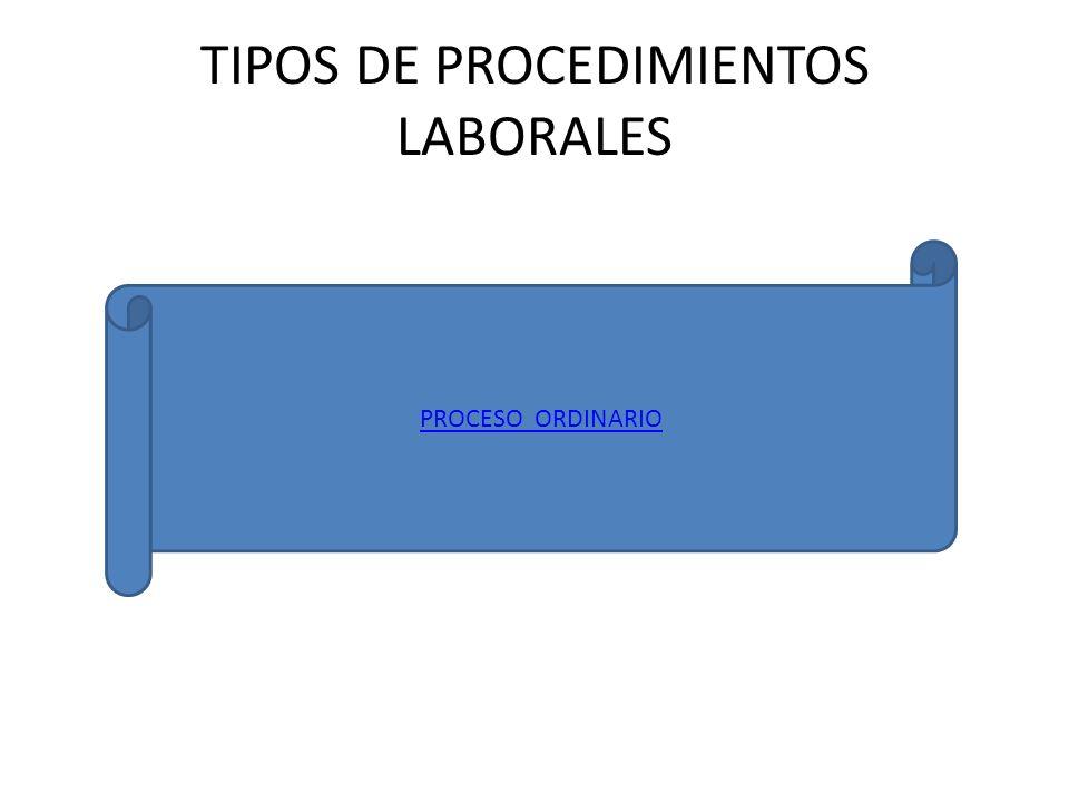 TIPOS DE PROCEDIMIENTOS LABORALES PROCESO ORDINARIO