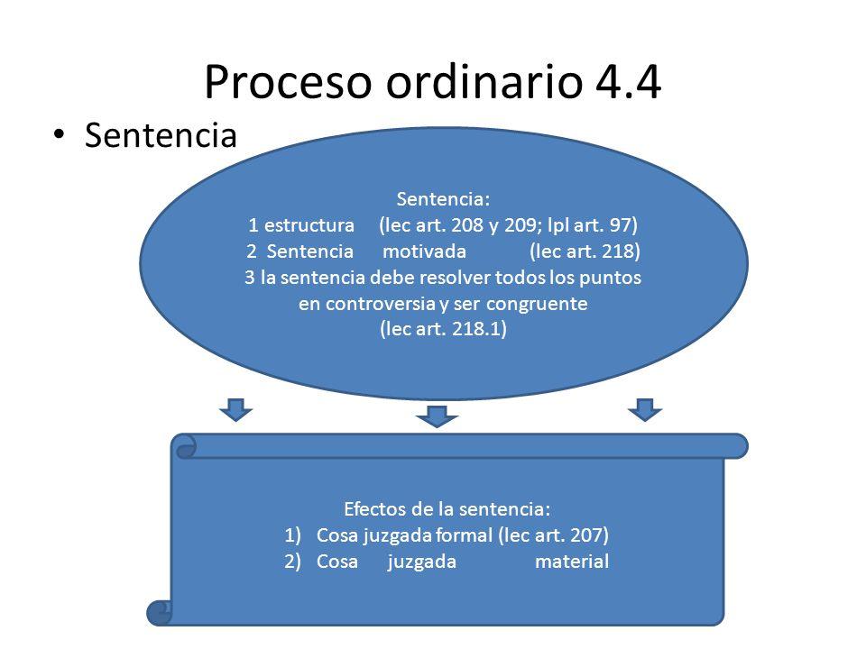 Proceso ordinario 4.4 Sentencia Sentencia: 1 estructura (lec art. 208 y 209; lpl art. 97) 2 Sentencia motivada (lec art. 218) 3 la sentencia debe reso