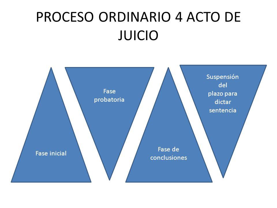 PROCESO ORDINARIO 4 ACTO DE JUICIO Fase inicial Fase probatoria Fase de conclusiones Suspensión del plazo para dictar sentencia