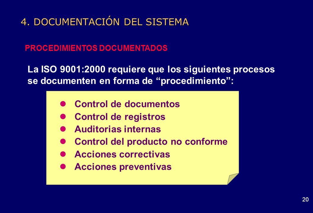 19 4. DOCUMENTACIÓN DEL SISTEMA RELACIÓN DE DOCUMENTOS Documento Información y su medio de soporte Información Datos que poseen significado Especifica