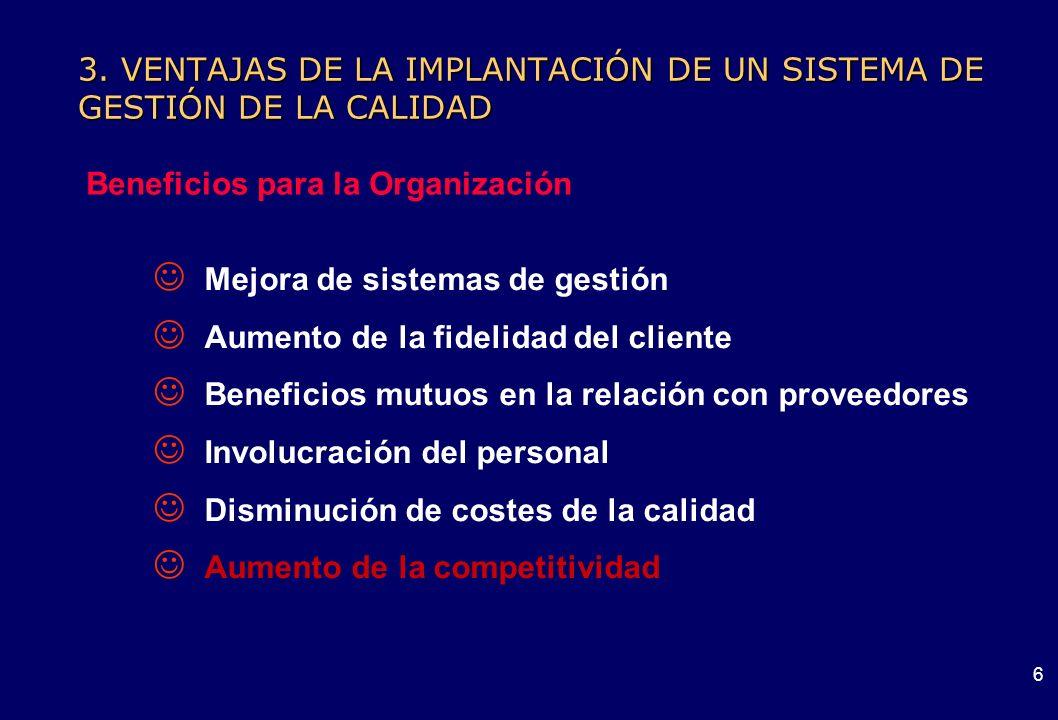 5 3. VENTAJAS DE LA IMPLANTACIÓN DE UN SISTEMA DE GESTIÓN DE LA CALIDAD ¿Para qué un Sistema de Gestión de la Calidad?