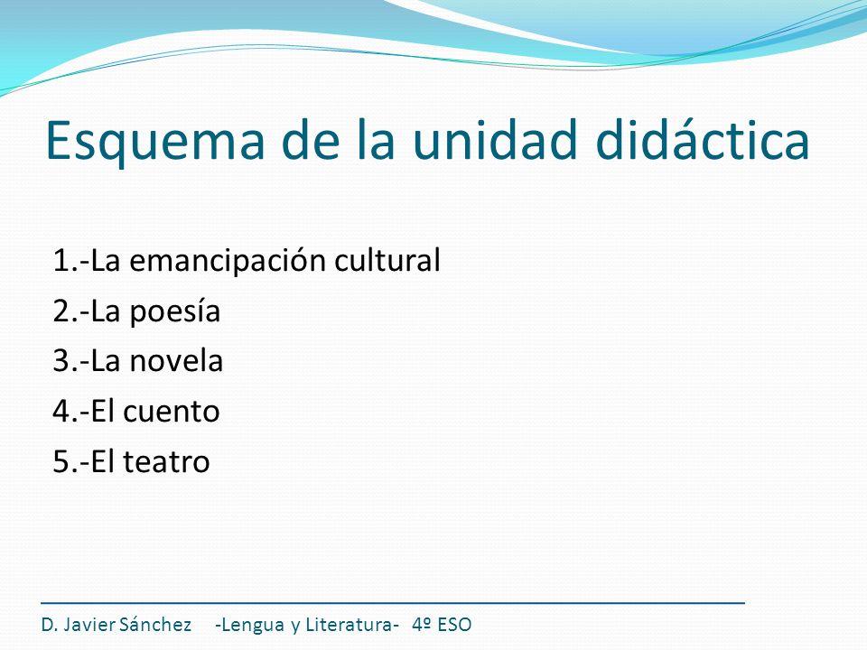 Esquema de la unidad didáctica 1.-La emancipación cultural 2.-La poesía 3.-La novela 4.-El cuento 5.-El teatro D. Javier Sánchez -Lengua y Literatura-