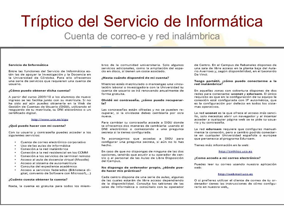Tríptico del Servicio de Informática Cuenta de correo-e y red inalámbrica