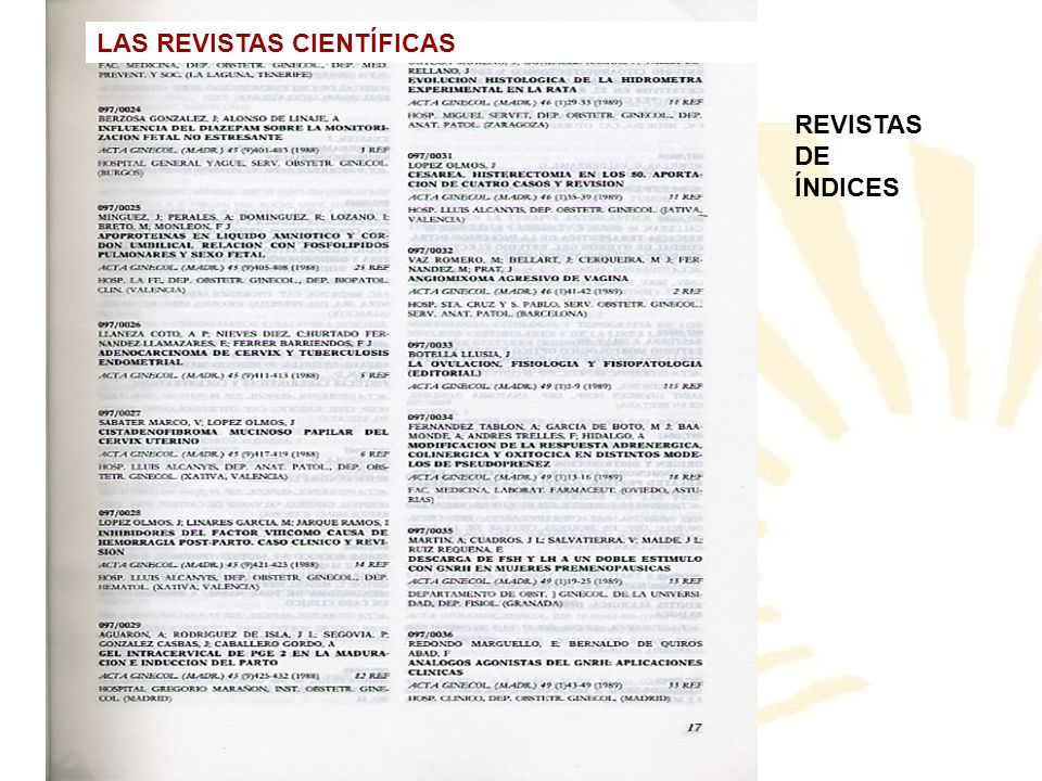 REVISTAS DE ÍNDICES LAS REVISTAS CIENTÍFICAS