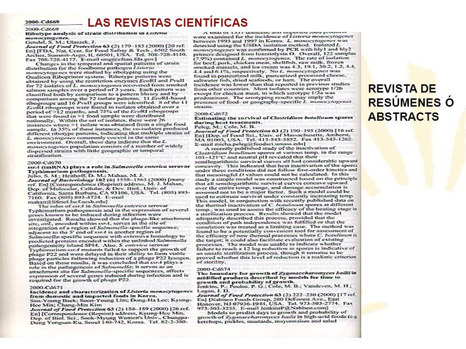 REVISTA DE RESÚMENES Ó ABSTRACTS LAS REVISTAS CIENTÍFICAS