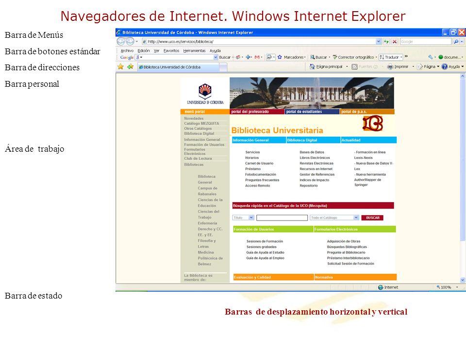 Navegadores de Internet. Windows Internet Explorer Barra de Menús Barra de botones estándar Barra de direcciones Barra personal Área de trabajo Barra