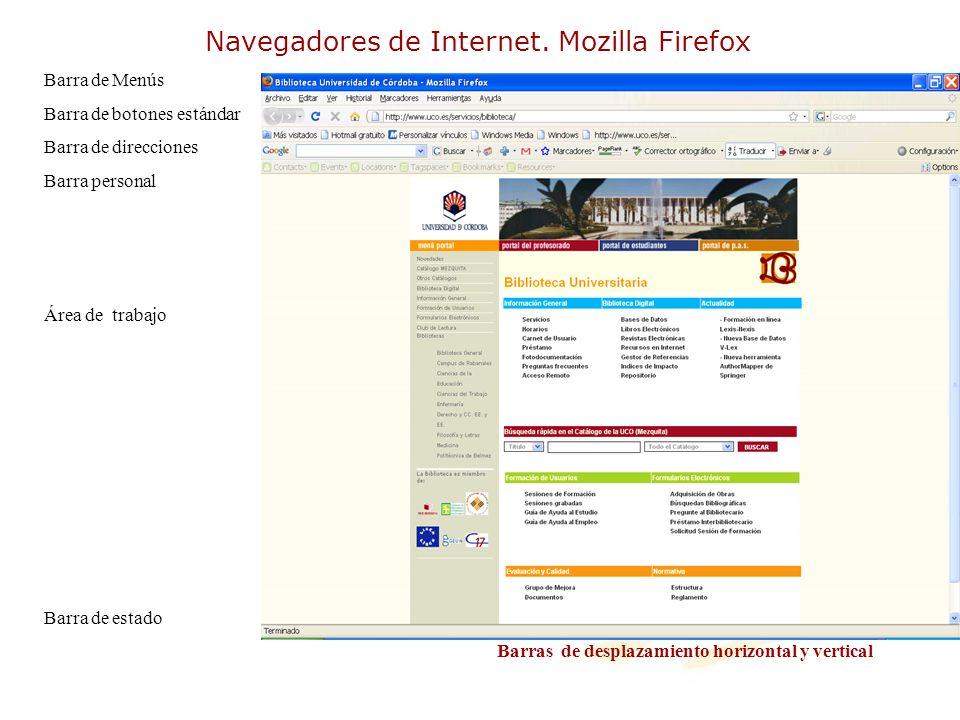 Navegadores de Internet. Mozilla Firefox Barra de Menús Barra de botones estándar Barra de direcciones Barra personal Área de trabajo Barra de estado