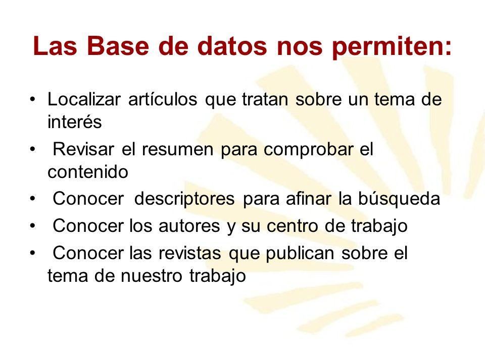 Las Base de datos nos permiten: Localizar artículos que tratan sobre un tema de interés Revisar el resumen para comprobar el contenido Conocer descrip