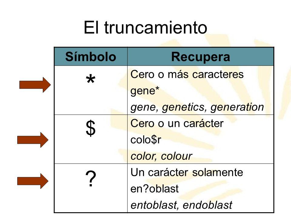 El truncamiento SímboloRecupera * Cero o más caracteres gene* gene, genetics, generation $ Cero o un carácter colo$r color, colour ? Un carácter solam